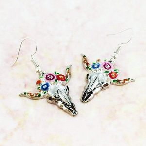 so western Floral Wreath Steer head Earrings boho